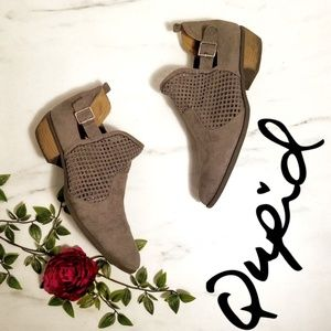 Qupid Buckle suede Cut Out Buckled Bootie 10